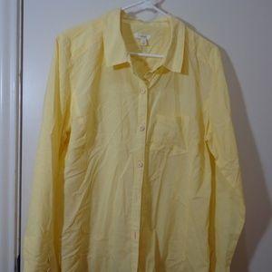 Caslon Button Down Blouse Large Yellow Stripe